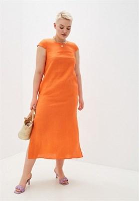 5169-49 Льняное платье оранжевое - фото 5542
