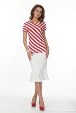 ALBT6039-1/бело-красный блузка - фото 6340