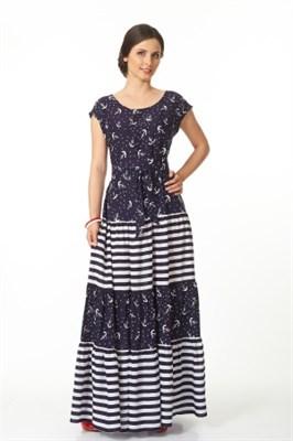 ALDS4052/синий с япон.пояс. платье жен - фото 6365