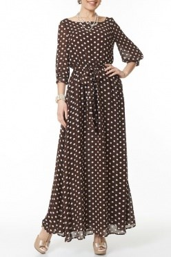 ALDS5025/коричневый/белый платье жен.с поясом - фото 6369