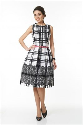 ALDS5026/бело-черное платье с ремнем - фото 6371