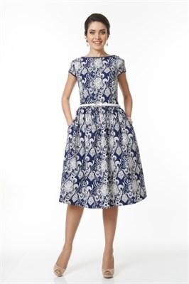 ALDS5029/сине-белое платье с ремнем - фото 6373