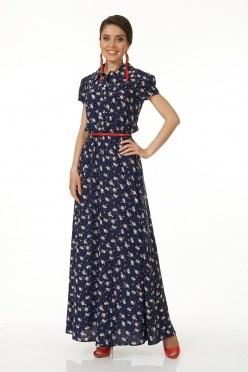 ALDS5032/синий платье жен. с ремнем - фото 6375