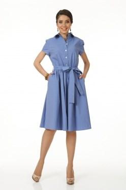 ALDS5036/голубой Платье с поясом жен. - фото 6380
