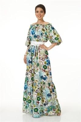 ALDS5045/мультиколор платье жен. с япон. поясом - фото 6384