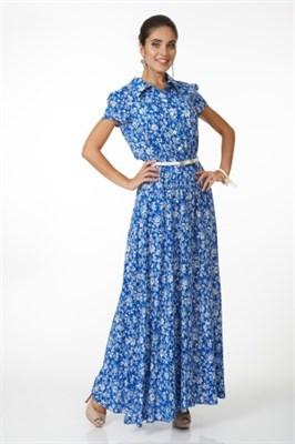 ALDS5057/голубой в цветок платье с ремнем - фото 6390