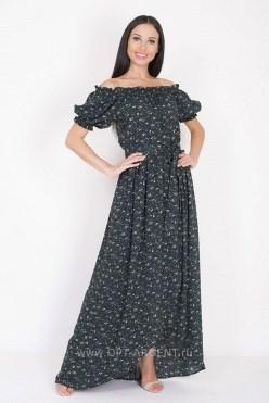 ALDS8045/зеленый цветы принт платье - фото 6426