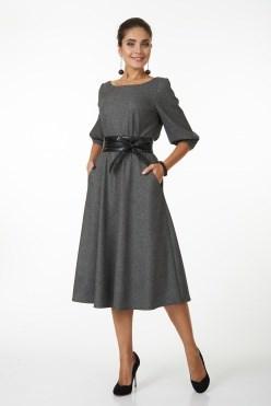 AZDS5073/серый-клетка платье жен.с яп.поясом - фото 6494