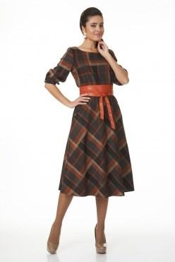 AZDS6060-2/корич-терракот платье с яп.поясом - фото 6497