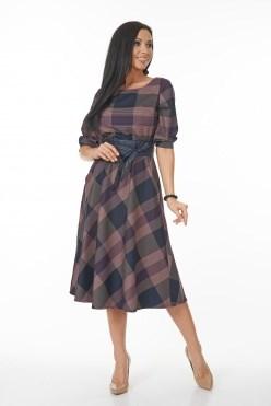 AZDS6060/сиреневый-клетка платье с яп.поясом - фото 6499