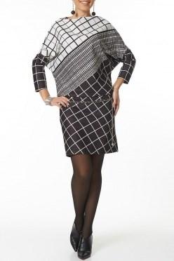 AZDT4091 черно-белый Платье жен - фото 6516