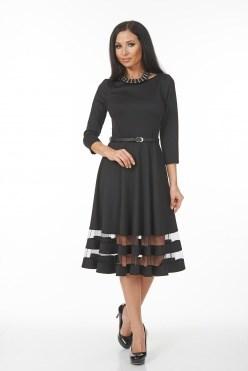 AZDT6071/черный платье с ремнем - фото 6520