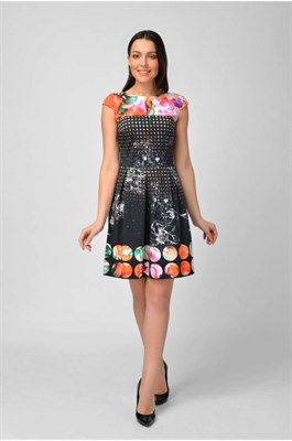 MV 217325 платье черно-оранжевое - фото 7030