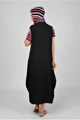 MV 218354 платье черное с полос. рукавами - фото 7040