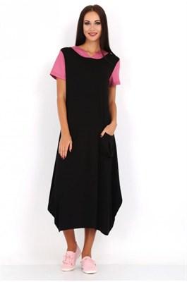 MV 218354-1 платье черное с роз. рукавами - фото 7043