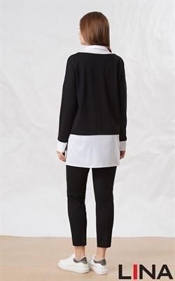 41131 черный, белый ) блуза - фото 7050