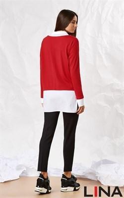 41131 красный, белый  блуза - фото 7056