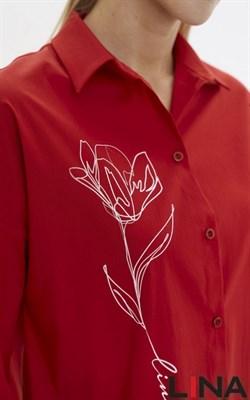 41218 красный, принт блуза - фото 7062