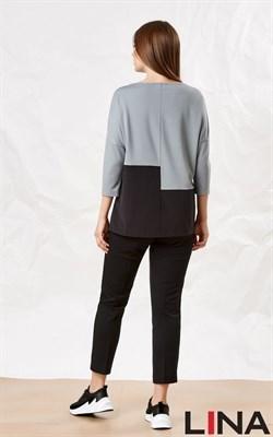 41137 серый, черный блуза - фото 7090