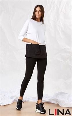 41137 белый, черный блуза - фото 7150