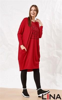 52136 красный принт платье - фото 7203
