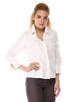 4284-10 Белая льняная блузка - фото 8283