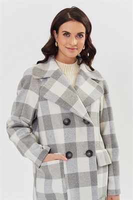 пальто женское 512/2 wl 1820 клетка серая - фото 9241