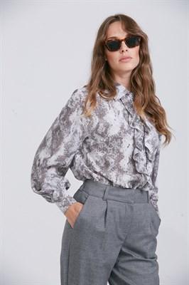 Блуза BL022 VENTENA серо-бежевая - фото 9460