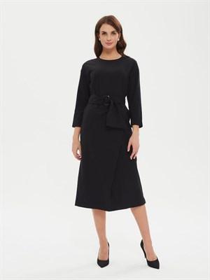 Платье Р 007р 916 + пояс текстильный (чёрное) - фото 9520