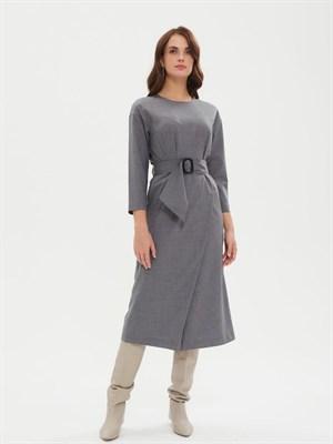 Платье Р 007рQ14131 + пояс текстиль (светло-серый) - фото 9527